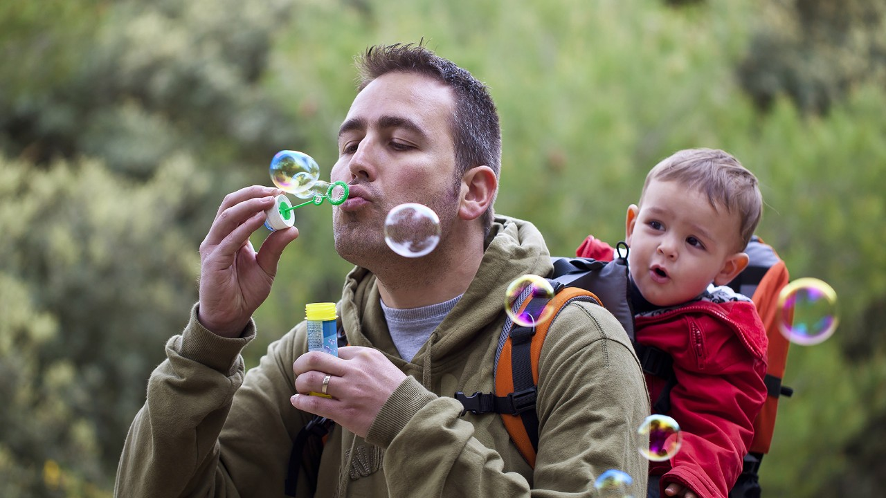 Father and son hiking; image used for HSBC Advance benefits page.
