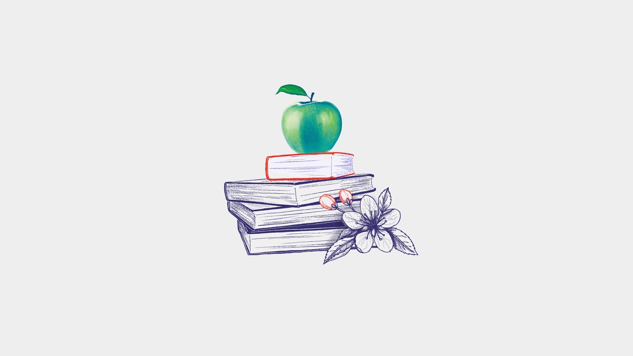 Books with apple on the top; image used for HSBC India NRI Overseas education page Priceless learning experiences for your children details